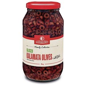 SLICED KALAMATA OLIVE SHURST x 2kg (6)
