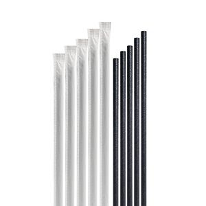 WRAPPED BLACK PAPER STRAWS CAWAY x 250 (10)
