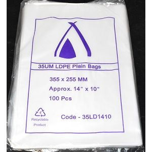 BAG PLASTIC LDPE 255 x 355mm 50um SAVILL x 100 (10)