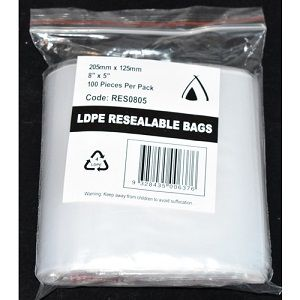 """RESEALABLE LDPE BAGS 5 x 8"""" 125 x 200 x 100 (10)"""