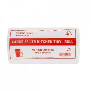 BIN TIDY BAGS WHITE 36ltr CAWAY x 50 (20)
