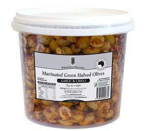 5kg MARINATED GREEN OLIVES HALVES PENFIELD