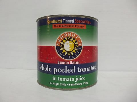 ITALIAN WHOLE PEEL TOMATO SHURST GFREE x 2.5kg (6)