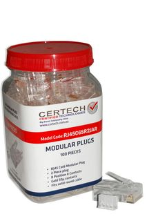 CERTECH Cat6 RJ45 Plug 100pc Jar, Round Solid