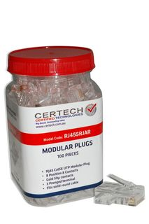 CERTECH Cat5e RJ45 Plug 100pc Jar, Round Solid