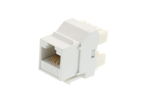CERTECH Cat6 RJ-45 Keystone Jack. White, 180 degrees