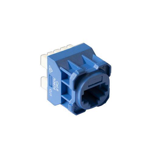 Cat6 UTP RJ45 Wall Plate Jack, Blue, 180 Degrees