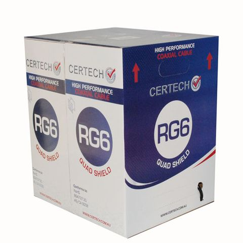 CERTECH RG6 Quad Shield Cable, 305m Box