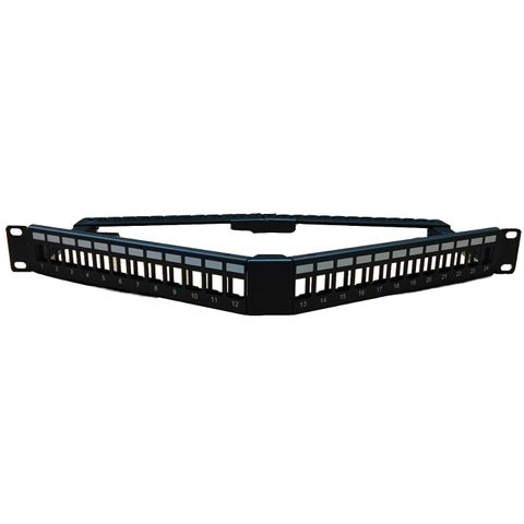 """CERTECH 1RU 19"""" 24 Port Angled Unloaded Patch Panel, with Rear Support Bar"""
