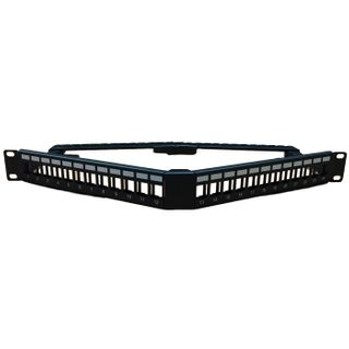 "CERTECH 1RU 19"" 24 Port Angled Unloaded Patch Panel, with Rear Support Bar"