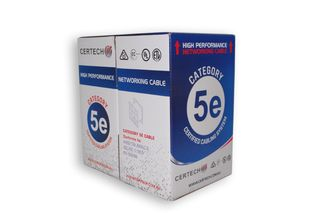 CERTECH 305M Cat5e UTP Solid Cable Roll, Blue PVC Jacket