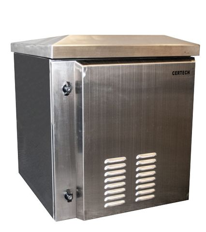 CERTECH 12RU 600mm Deep Stainless Steel Outdoor Wall Mount Cabinet, IP45 Rated