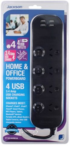 Jackson 4 Outlet Surge & Overload Protected Individually Switched Powerboard with USB Charging Ports