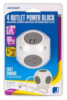 Jackson 4 Outlet Overload Protected Powerblock with 2 USB Charging Ports
