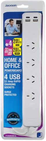 Jackson 4 Outlet Surge & Overload Protected Powerboard with USB Charging Ports