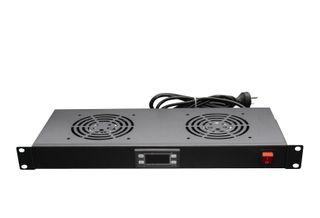 CERTECH 1RU Fan Unit with Digital Thermostat, 2 Fans