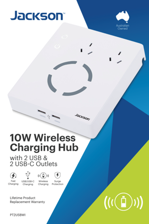 Jackson 2 Outlet Surge & Protected Wireless Hub with 4 USB Charging Ports