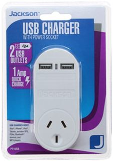 Jackson 2 Port USB Charger with 1 Power Outlet