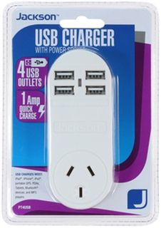 Jackson 4 Port USB Charger with 1 Power Outlet