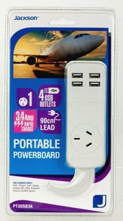 Jackson 1 Outlet Portable Powerboard with 4 USB Charging Ports