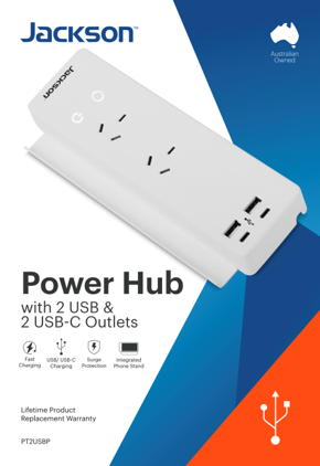Jackson 2 Outlet Surge & Overload Protected Power Hub with 4 USB Charing Ports
