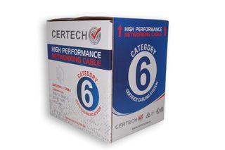 CERTECH 305M Cat6 UTP Solid Cable Roll, Grey PVC Jacket