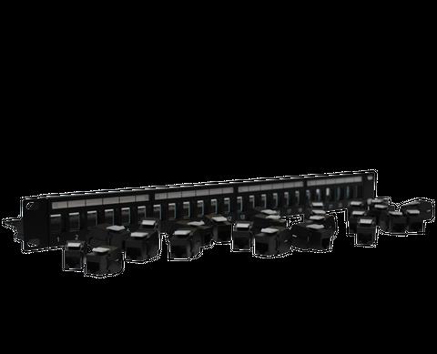 "CERTECH 24 Port 19"" Cat6A UTP Patch Panel, Complete with 24 x Cat6A Keystone Jacks"