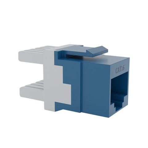 Cat6 UTP RJ45 Keystone Jack. Blue, 180 degrees, 10pc Pack