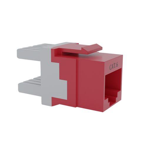 Cat6 UTP RJ45 Keystone Jack. Red, 180 degrees, 10pc Pack