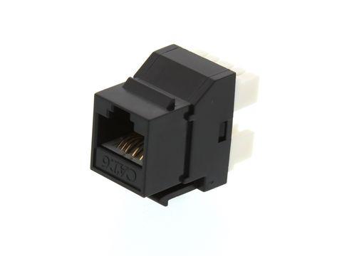 Cat6 UTP RJ45 Keystone Jack. Black, 180 degrees, 24pc Pack