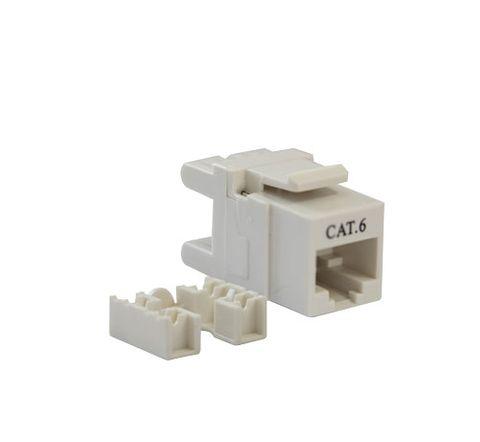 Cat6 UTP RJ45 Keystone Jack. White, 180 degrees, 10pc Pack