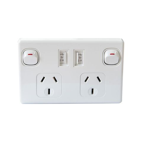 Double Power Point 250V 10A, with 2 x 5V 2.1A USB Ports