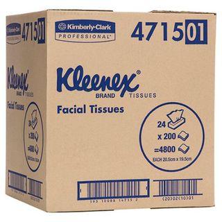KLEENEX 4715 EXECUTIVE WHITE 2 PLY F/TISSUE 200S X 24
