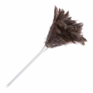 MEDIUM OSTRICH FEATHER DUSTER WITH PLASTIC HANDLE