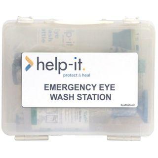 EMERGENCY EYE WASH KIT IN CLEAR WALL MOUNTABLE PLASTIC BOX