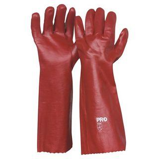 RED PVC GAUNTLET GLOVE 45CM