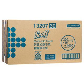 SCOTT 13207 I/FOLD STANDARD WHITE 1 PLY P/TOWEL 250S X 16