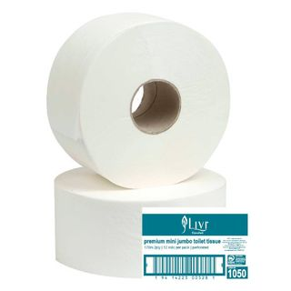 LIVI 1050 ESSENTIALS MINI JUMBO WHITE 2PLY T/ROLL 170M X 12S