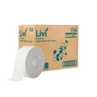 LIVI 1100 ESSENTIALS JUMBO WHITE 2 PLY T/ROLL 300M X 9.5CM X 8S