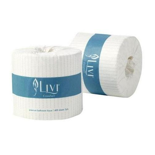 LIVI 1001 ESSENTIALS EMBOSSED WHITE 2 PLY WRAPPED T/ROLL 400S X 48