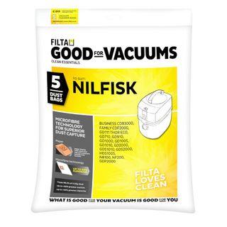 NILFISK GD1010/GDS1010/VP300 VACUUM MICROFIBRE DUST BAGS 9L 5S - C011
