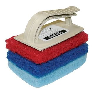 GLIT SCRUB-A-DUB UNIT WITH 3 SCOURING PADS  (SMALLER CREME COLOURED)