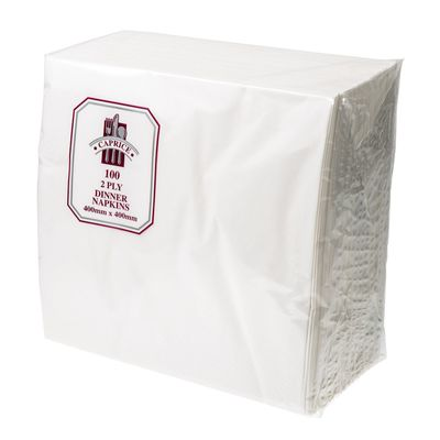 DINNER NAPKIN 2PLY WHITE 1/4 FOLD