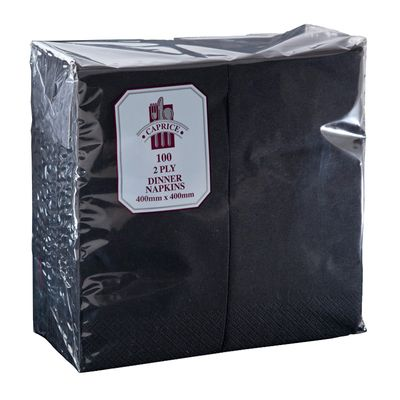 DINNER NAPKIN 2PLY BLACK GT FOLD