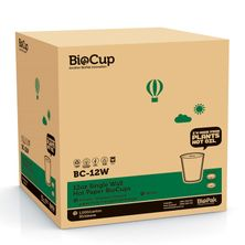 CUP WHT 12OZ SINGLE WALL, 1000CTN