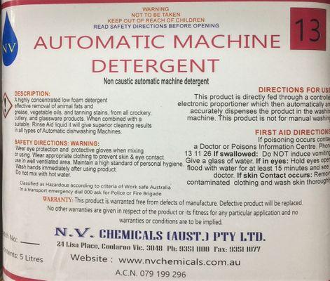 AUTO MACHINE DET NON-CAUSTIC 5LT, NV