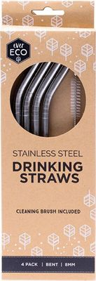 STRAWS 18/10 SET4 W/BRUSH, EVER ECO
