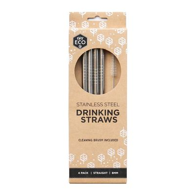 STRAWS 18/10 ST4 W/BRUSH STRAIGHT E/ ECO