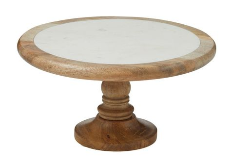 CAKE STAND WOOD/MARBLE 30CM, ACADEMY