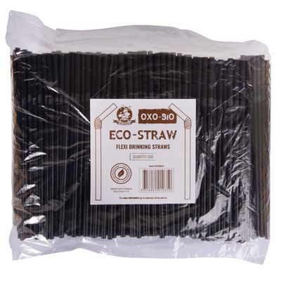 FLEXIBLE STRAW ECO 210MM BLACK 500 PCS